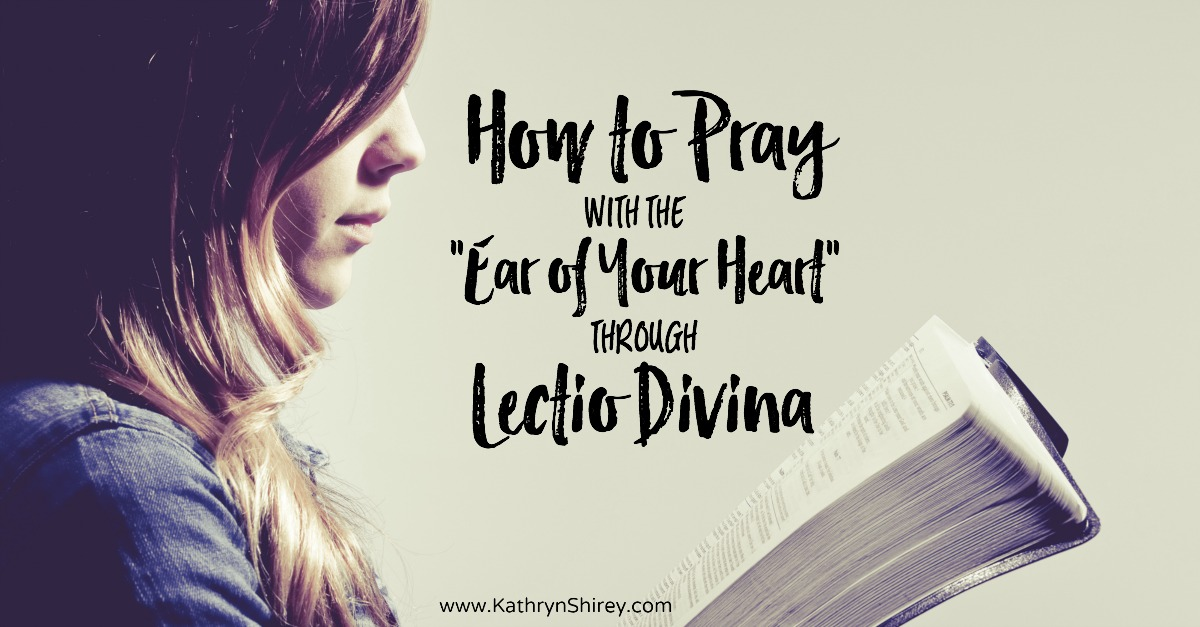 "Want to hear God more clearly in your prayers? Learn to pray by listening to scripture with the ""ear of your heart"" in the prayer practice of Lectio Divina. (+ free printable prayer cards)"