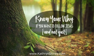 Know Your Why If You Want To Follow Jesus {and not quit}