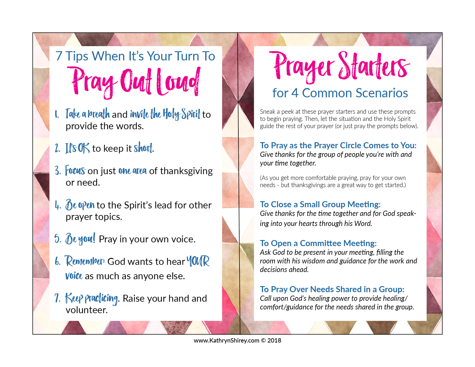 Get the FREE Praying Out Loud tip sheet. Keep it tucked in you Bible, so you can sneak a peek the next time you may be called on to pray out loud.