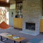 mid-century modern furnishings in guest house