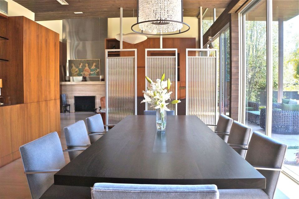 Fuse lighting, dining room, barcelona chairs