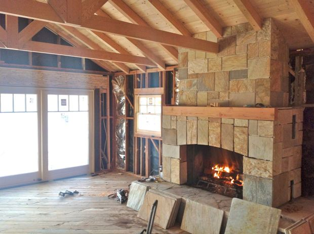 refacing fireplace, opening up ceiling