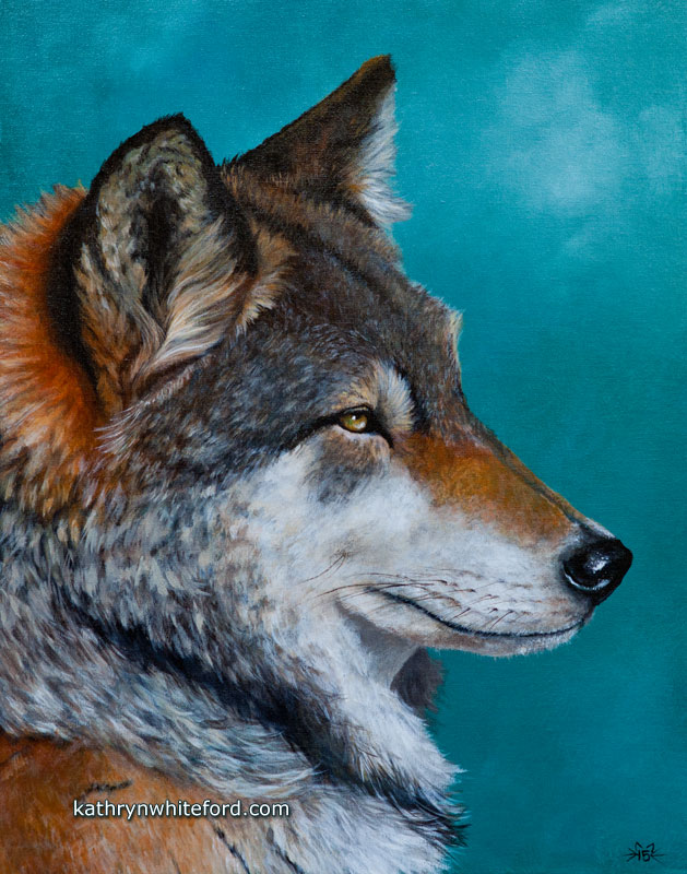 """""""The Wolf"""" Acrylics on canvas, 11x14 inches"""