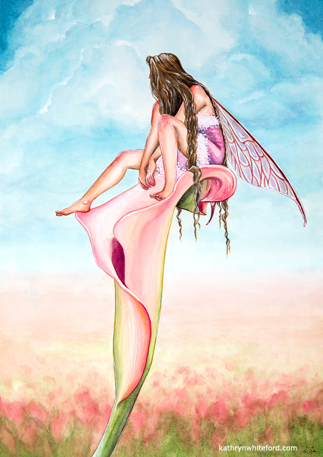"""""""Lily Fairy"""" Watercolour painting, A3"""