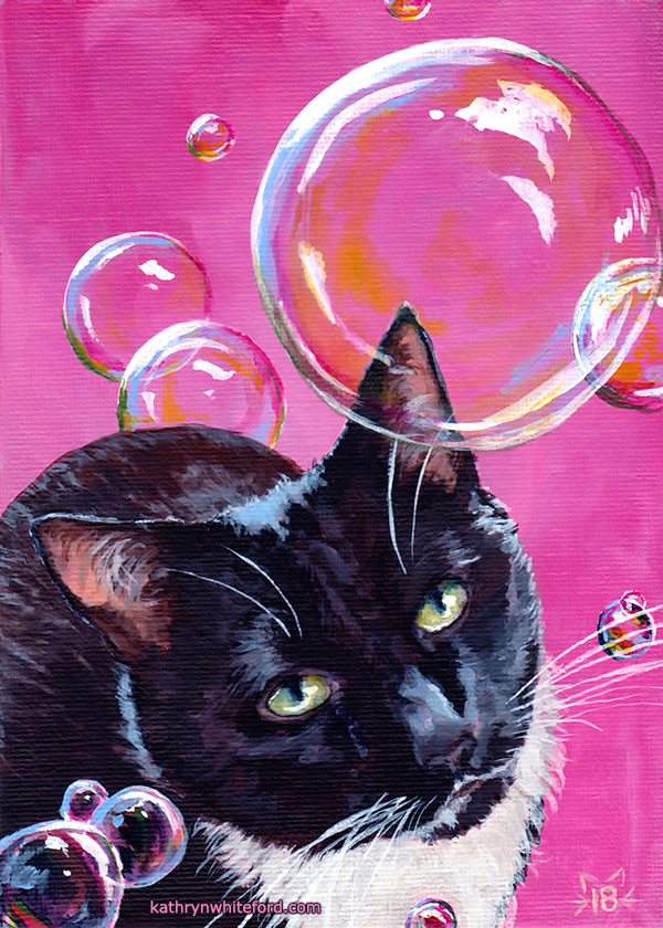 """""""Nova with Bubbles"""" Acrylics on canvas board, 5x7 inches"""