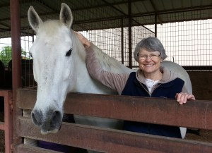 writer and speaker, Kathy O'Neill with horse