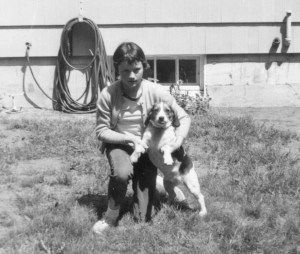 Kathy O'Neill as a child with beagle