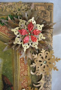 Another corner treatment made using Sizzix dies, Distress Stains and a small metal flower.