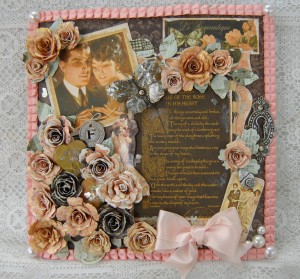 "8x8"" Mixed Media Memory File Made using Le Romantique, Staples and Handmade Flowers"