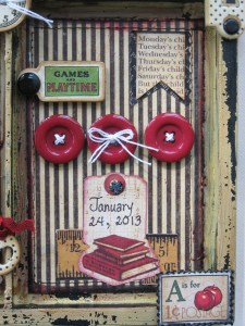The final panel contains the date of the graduation ceremony, more vintage buttons and a fishtail flag.