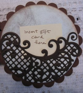 On the final panel, I placed the Lattice Swirl Die onto the designer paper and carefully trimmed away the excess.  Only the outer edges of the die were glued to the paper, creating a gift card pocket! I love the way the die resembles a wave.