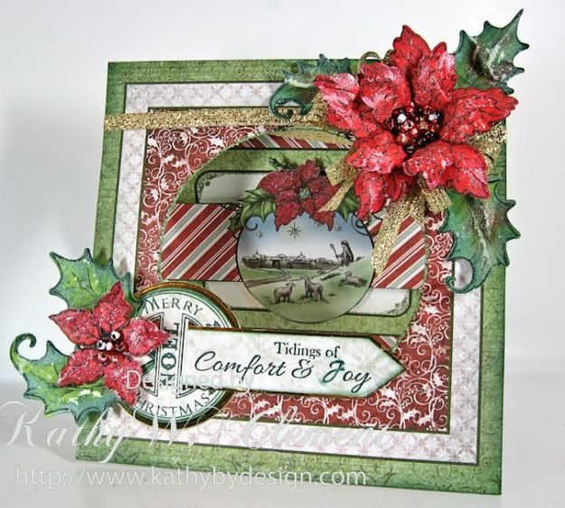 Kathy by Design/Sparkling Poinsettia Window Card tutorial