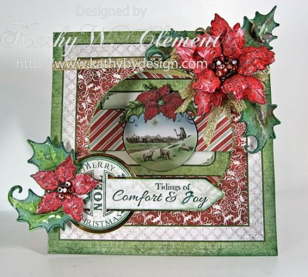 Sparkling Poinsettias Tidings of Joy Window Card 02a