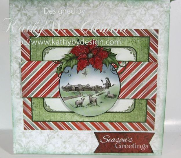 Sparkling Poinsettias Tidings of Joy Window Card 03
