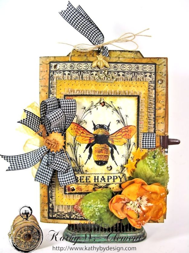 Bee Happy Card for RRR Things with Wings Challenge Kathy by Design 01