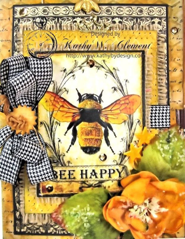 Bee Happy Card for RRR Things with Wings Challenge Kathy by Design 02