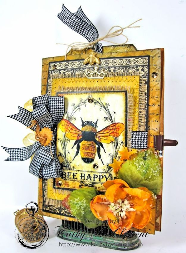 Bee Happy Card for RRR Things with Wings Challenge Kathy by Design 03