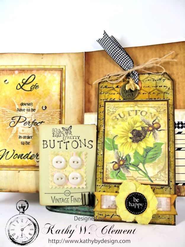 Bee Happy Card for RRR Things with Wings Challenge Kathy by Design 05