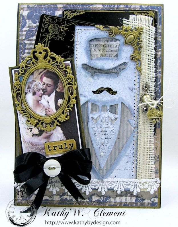 Dapper Wedding Card by Kathy Clement for Funkie Junkie Boutique 03