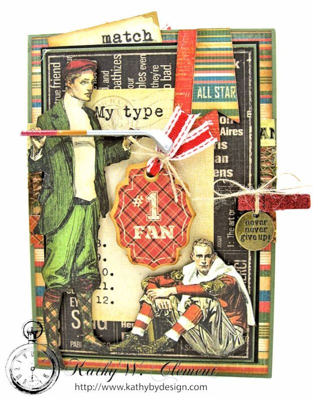 Graphic45 Good Old Sport Masculine Pocket Card by Kathy Clement for Really Reasonable Ribbon Masculine Challenge 03