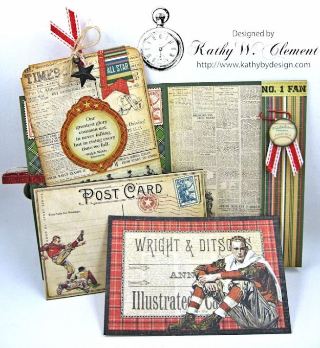 Graphic45 Good Old Sport Masculine Pocket Card by Kathy Clement for Really Reasonable Ribbon Masculine Challenge 05