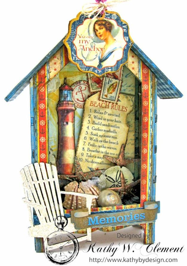 Beach Rules House Shrine Box Tutorial by Kathy Clement for Gypsy Soul Laser Cuts Product Graphic 45 By the Sea Photo 15