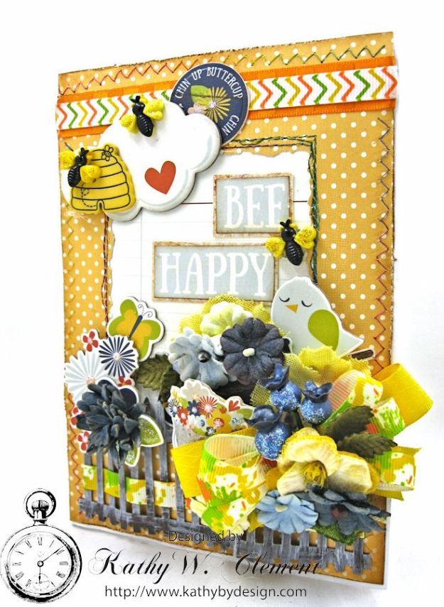 Chin Up Buttercup Tri Fold Card by Kathy Clement for Really Reasonable Ribbon Product  Simple Stories Bloom and Grow Photo 1