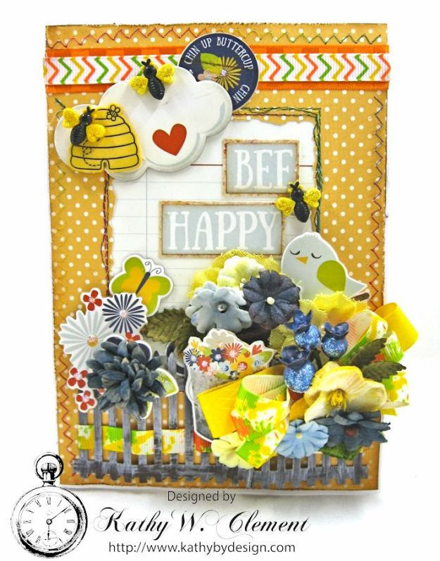 Chin Up Buttercup Tri Fold Card by Kathy Clement for Really Reasonable Ribbon Product  Simple Stories Bloom and Grow Photo 3