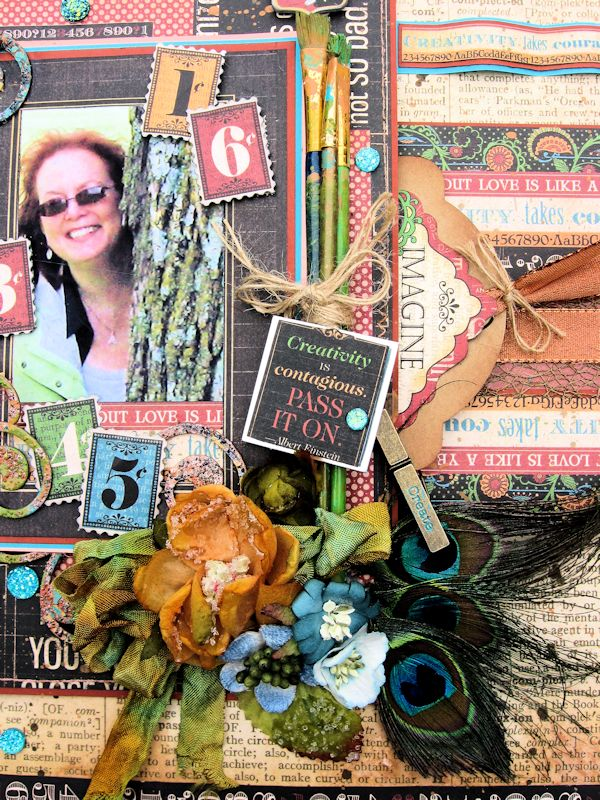 Creativity Takes Courage Layout, Typography, Tutorial by Kathy Clement, Product by Graphic 45, Photo 5