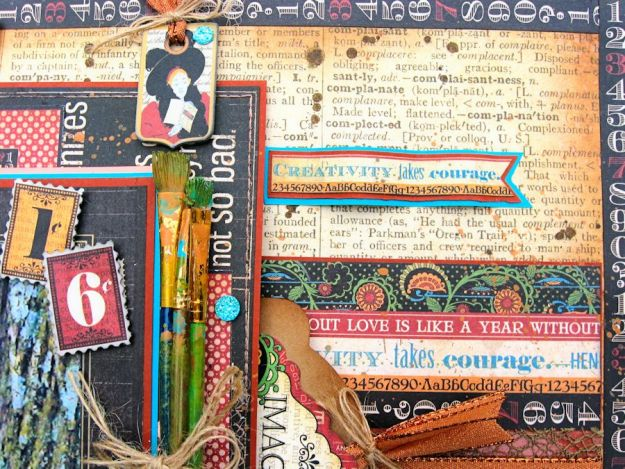Creativity Takes Courage Layout, Typography, Tutorial by Kathy Clement, Product by Graphic 45, Photo 6
