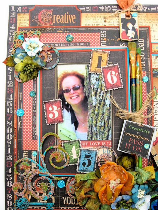Creativity Takes Courage Layout, Typography, Tutorial by Kathy Clement, Product by Graphic 45, Photo 7