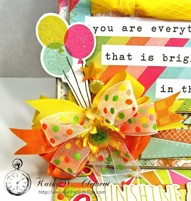 Simple Stories Sunshine and Happiness Easel Card by Kathy Clement for Really Reasonable Ribbon 03a