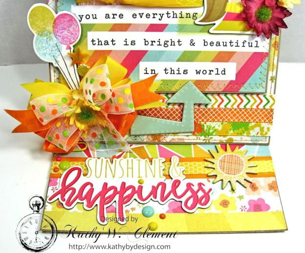Simple Stories Sunshine and Happiness Easel Card by Kathy Clement for Really Reasonable Ribbon 04a