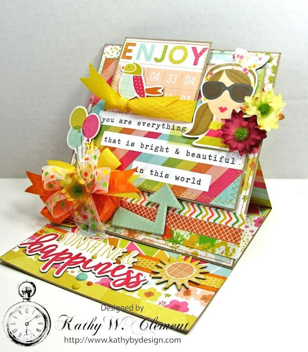 Simple Stories Sunshine and Happiness Easel Card by Kathy Clement for Really Reasonable Ribbon 06a