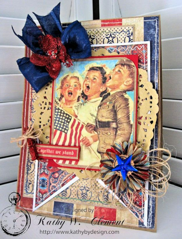 Together We Stand 4th of July Card by Kathy Clement for Petaloo International Product Authentique Honor Photo 1