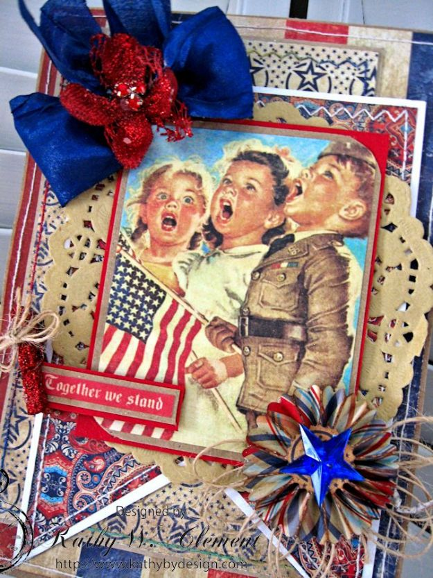 Together We Stand 4th of July Card by Kathy Clement for Petaloo International Product Authentique Honor Photo 3