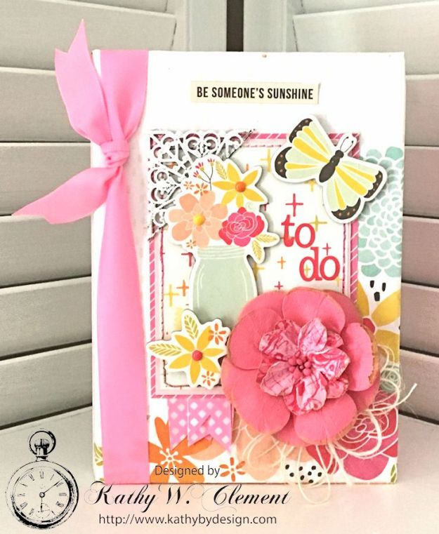 Be Someone's Sunshine Notebook by Kathy Clement for Really Reasonable Ribbon Product by Simple Stories Sunshine and Happiness and Petaloo Photo 1