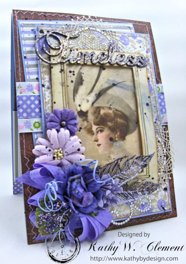 Lady in Purple Pocket Card by Kathy Clement for Really Reasonable Ribbon Pink and Purple Challenge Product Bo Bunny Penny Emporium Photo 1