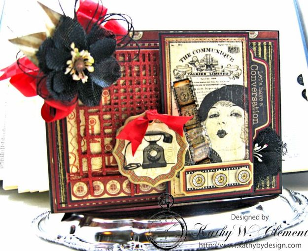 Let's Chat Photo Card, Communique, by Kathy Clement for Frilly and Funkie All Lined Up Challenge, Product by Graphic 45, Photo 1