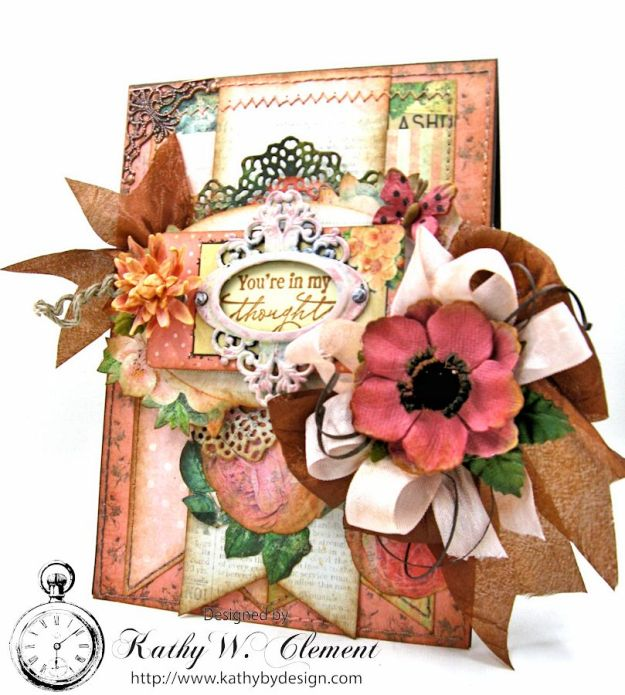 You're in My Thoughts Pocket Card by Kathy Clement for Really Reasonable Ribbon Product by Prima Something Blue Photo 2