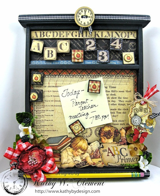 Petaloo Goes Back to School Message Board, ABC Primer, By Kathy Clement, Product by Petaloo and Graphic 45 Photo 1