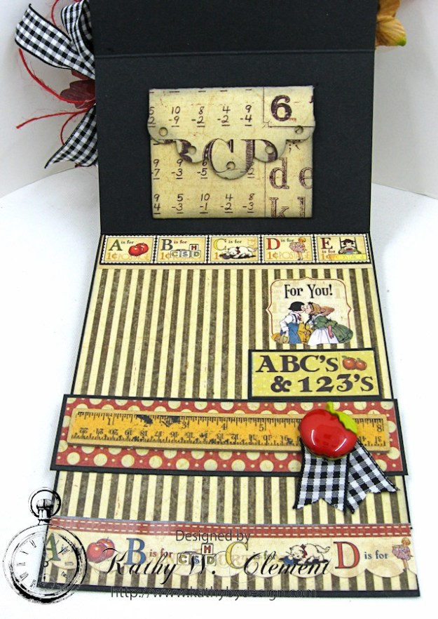 Petaloo Goes Back to School Easel Card by Kathy Clement, ABC Primer, Product by Petaloo and Graphic 45, Photo 3