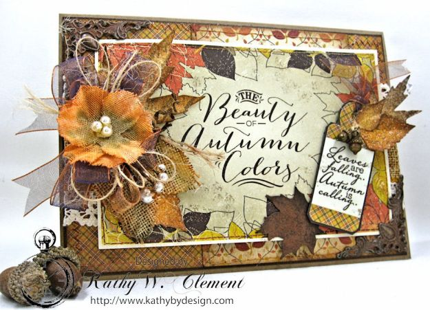Beautiful Autumn Colors Card, Harvest, by Kathy Clement for RRR Autumn Colors Challenge, Product by Authentique, Photo 1