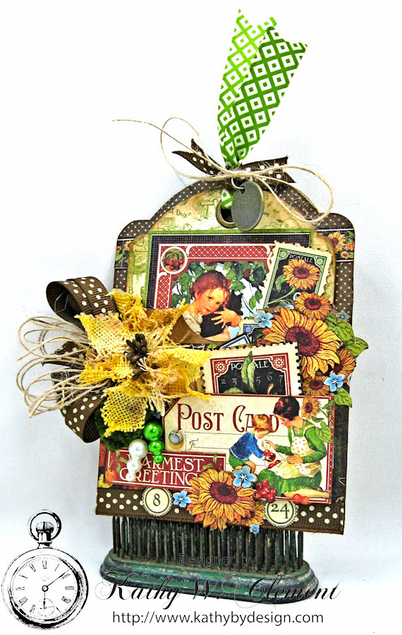 Children's Hour Tag Pocket with Tag by Kathy Clement for Really Reasonable Ribbon, Product by Graphic 45 Photo 1