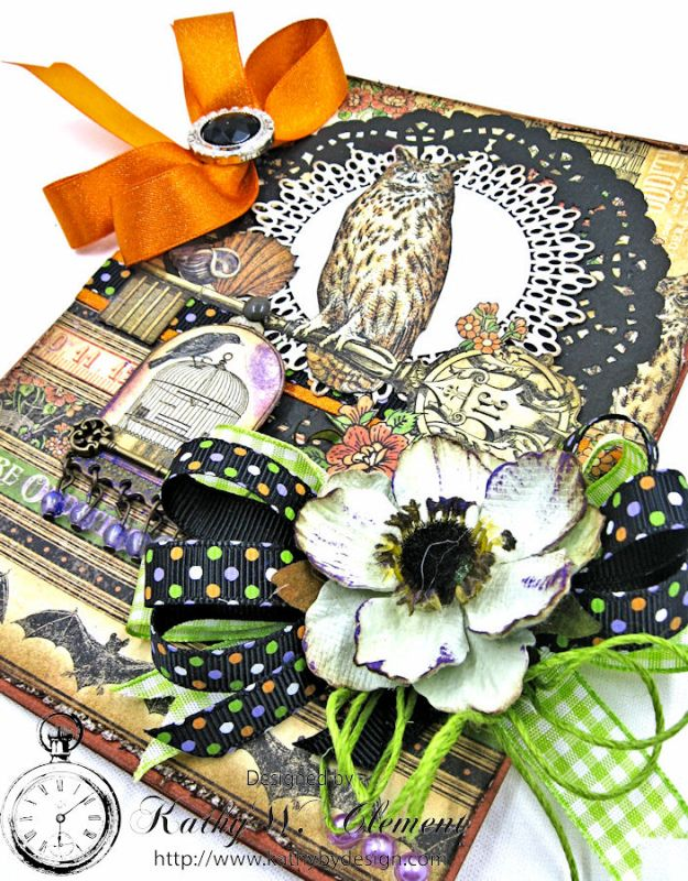 Happy Howloween Card, Rare Oddities, by Kathy Clement for Really Reasonable Ribbon Product by Graphic 45, Photo 3