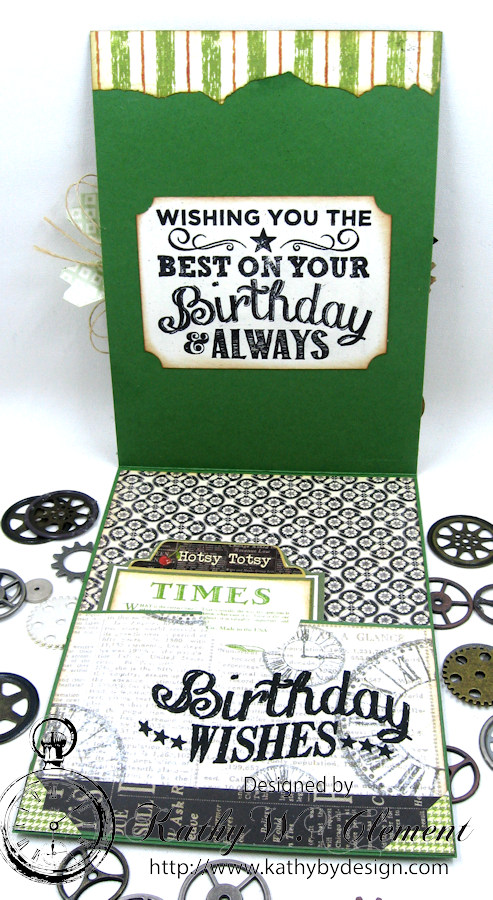 Steampunk Ideas Man Birthday Card by Kathy Clement for Really Reasonable Ribbon, Product Times Nouveau by Graphic 45, Really Reasonable Ribbon, Gypsy Soul Laser Cuts Gears, Photo 5