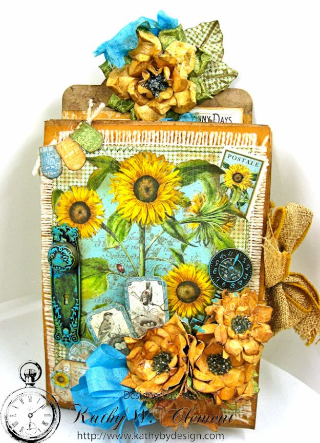 Sunflowers Mini Album, Time to Flourish, by Kathy Clement for Frilly and Funkie Floral Infatuation Challenge, Product by Graphic 45, Photo 1