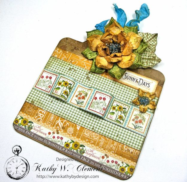 Sunflowers Mini Album, Time to Flourish, by Kathy Clement for Frilly and Funkie Floral Infatuation Challenge, Product by Graphic 45, Photo 7