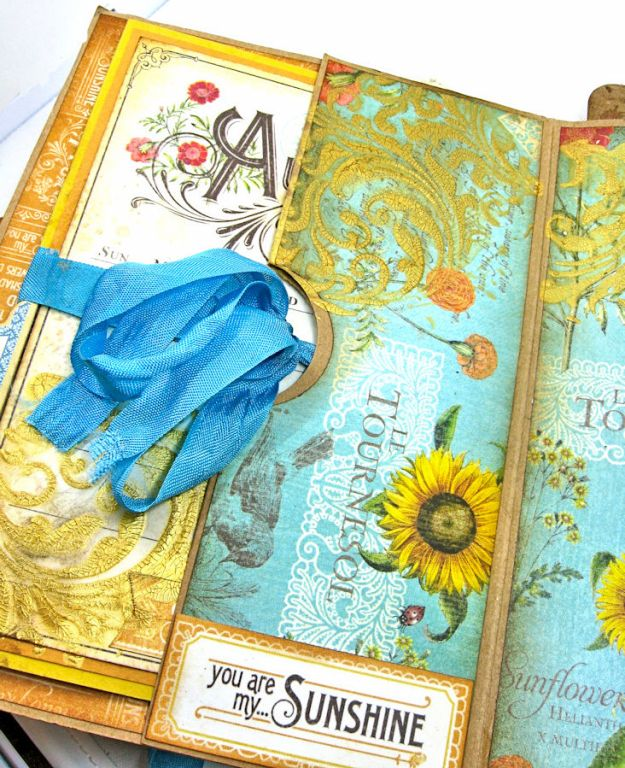 Sunflowers Mini Album, Time to Flourish, by Kathy Clement for Frilly and Funkie Floral Infatuation Challenge, Product by Graphic 45, Photo 9
