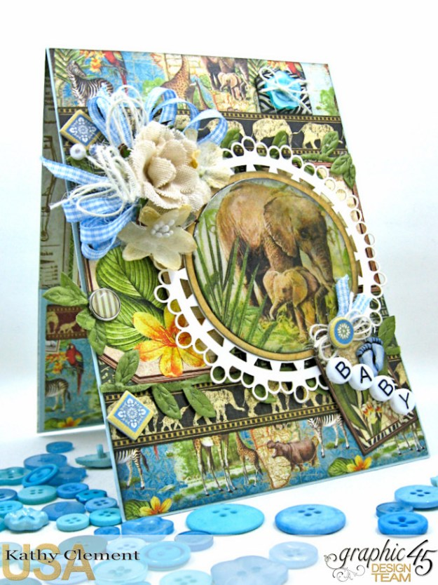 Welcome to our Jungle Baby Boy Elephant Card, Safari Adventure, by Kathy Clement, Product by Graphic 45 Photo 1